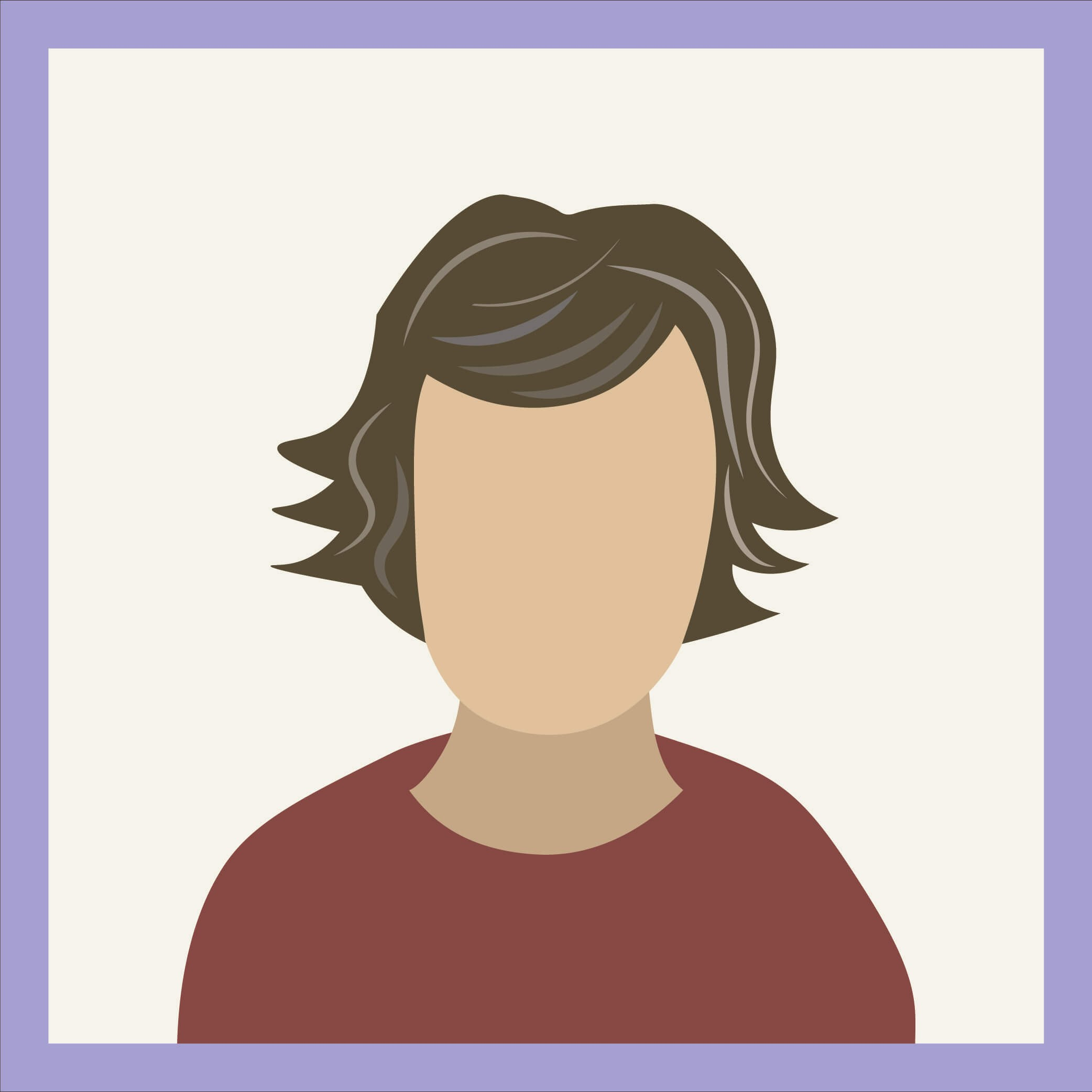 an illustration of a person with brown hair who is beginning to go gray. Gray streaks of color are in the person's hair.