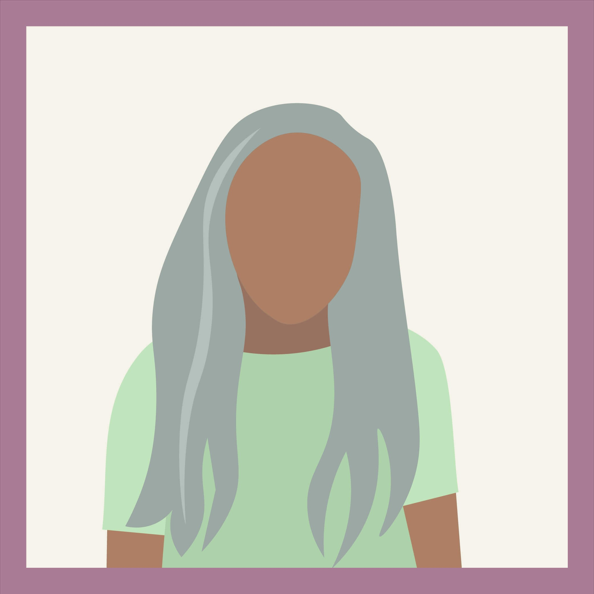 an illustration of a woman with long, completely gray hair